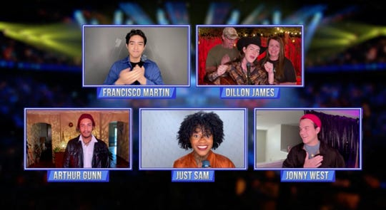 """American Idol"" contestants Francisco Martin, Dillon James, Arthur Gunn, Just Sam and Jonny West on the season finale."