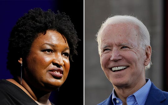 Stacey Abrams, a former member of Georgia's House of Representatives, might be asked to join Joe Biden's presidential campaign.