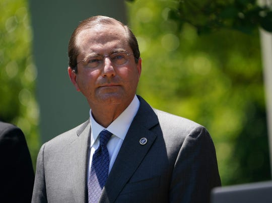 Secretary of Health and Human Companies Alex Azar listens one day of a vaccine style announcement on Could perhaps perhaps 15, 2020, within the Rose Garden of the White House.