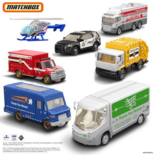 The Matchbox #ThankYouHeroes Frontline Heroes Vehicles Gift Set has seven die-cast vehicles: an ambulance, garbage truck, grocery delivery van, news helicopter, mobile hospital, package delivery van and police car. Cost: $20, $15 of which is donated to the charity #FirstRespondersFirst.