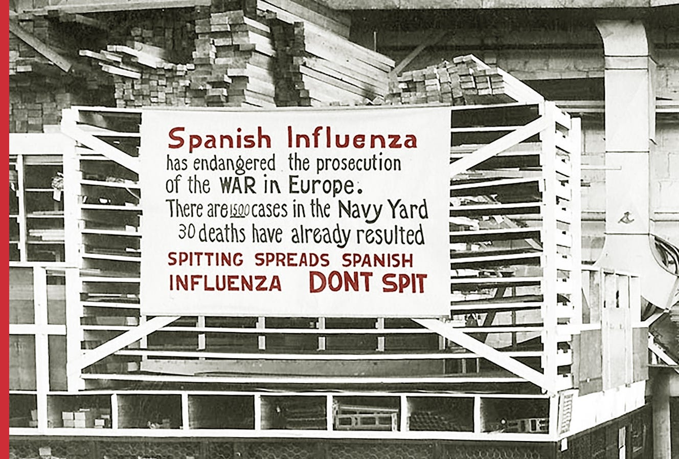 """A sign at the Philadelphia Naval Aircraft Factory warns workers to """"not spit."""""""