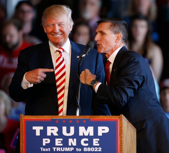 Michael Flynn with Donald Trump at a presidential campaign rally in 2016 in Grand Junction, Colorado.