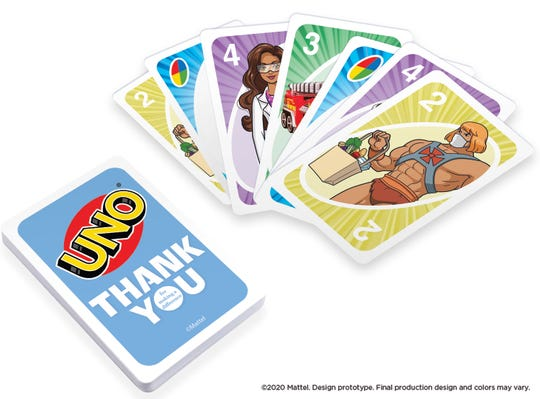 The new UNO #ThankYouHeroes Tin ($10) has cards featuring Mattel characters such as He-Man as a grocery delivery worker and Barbie as a scientist. ($8 of the proceeds are donated the charity #FirstRespondersFirst.)