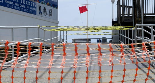 Access to the beach and boardwalk is blocked off at Arnold Avenue in Point Pleasant Beach Tuesday, May 19, 2020.