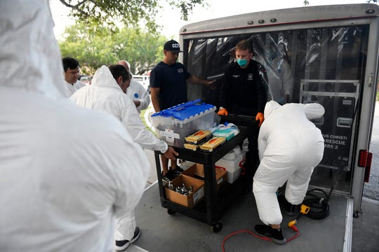 The Corpus Christi Fire Department begins COVID-19 testing in nursing homes, Monday, May 18, 2020. The firefighters will test various facilities in the county until Tuesday, May 26.