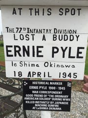 """The Ernie Pyle marker is a copy of the one erected by members of the 77th Infantry on the battlefield of Okinawa, Japan. Pyle was a war correspondent and was named as aa friend of the ordinary American soldier"""" during World War II. The Scioto Valley Honor Guard is looking for other examples of sign posts from other wars."""
