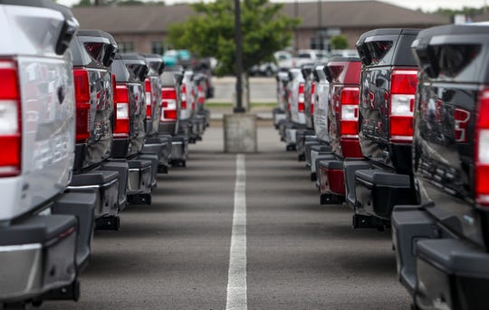 New Ford trucks line up side to side and back to back  at Jenkins  and Wynne Ford and Lincoln in Clarksville, Tenn., on Tuesday, May 12, 2020.