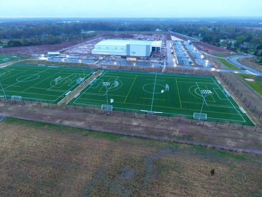 An aerial view of the 40 acres of fields at the new Apex Sports & Events in Hillsborough. Opened only two weeks  when forced close by the pandemic, Apex expects to reopen in mid-June.
