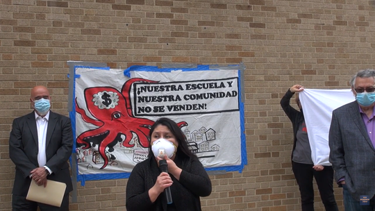 Two lawsuits and a verified complaint have been filed in the less than a week against the New Brunswick school board related to plans approved to demolish Lincoln Annex School to make for a $750 million expansion of Rutgers Cancer Institute of New Jersey. Pictured from left to right are Juan Cartagena, president and general Counsel of LatinoJustice; María Juárez, mother of a Lincoln Annex sixth grader, and Juan Gonzalez, a Rutgers journalism professor, one of many school supporters opposed to the plan.