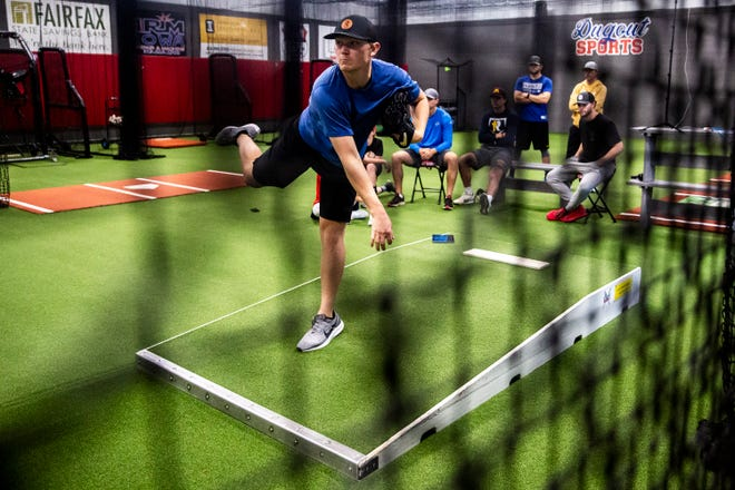 Mitch Keller, pitcher for the Pittsburgh Pirates and Cedar Rapids native, works out at Dugout Sports on Tuesday, May 19, 2020, in Fairfax. Keller is one of several professional baseball players coming to this small-town Iowa gym to stay in shape while the season is on hold because of COVID-19.