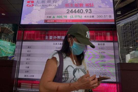 A woman wearing face mask walks past a bank electronic board showing the Hong Kong share index Tuesday, May 19, 2020.