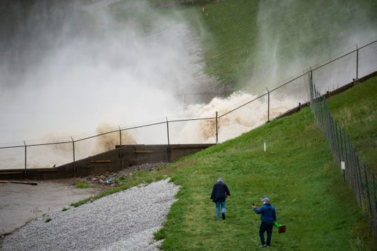 This photo shows a view of a dam on Wixom Lake in Edenville, Mich., Tuesday, May 19, 2020. People living along two mid-Michigan lakes and parts of a river have been evacuated following several days of heavy rain that produced flooding and put pressure on dams in the area.
