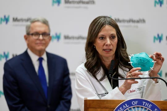 In this Feb. 27, 2020 file photo Ohio Department of Health Director Amy Acton speaks during a news conference at the MetroHealth Medical Center in Cleveland.
