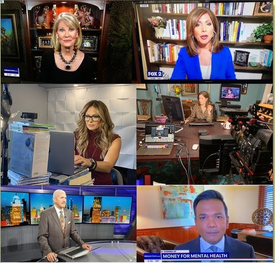 Clockwise from top left: Monica Gayle, Sherry Margolis, Amy Lange, Roop Raj, Huel Perkins and Taryn Asher work from home and the newsroom.
