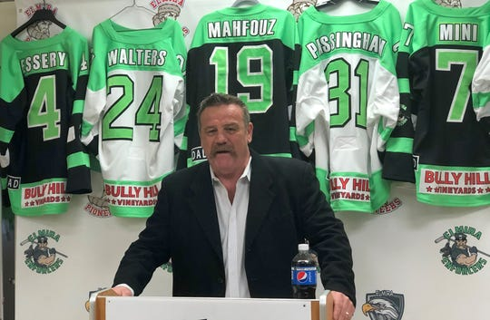 Elmira Enforcers owner Robbie Nichols talks at a press conference May 19, 2020 at First Arena in which Ray Tremblay was introduced as the team's head coach.