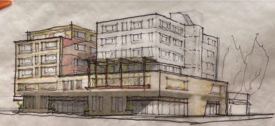 A rough line drawing of a proposed mixed-use building in downtown Fort Collins that includes 78 affordable apartments.