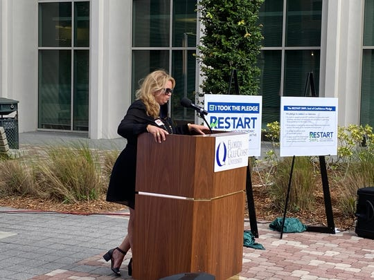Diana Willis, the owner of four Southwest Florida Jason's Deli locations, speaks about her involvement in Restart SWFL on Tuesday, May 19, in Fort Myers.