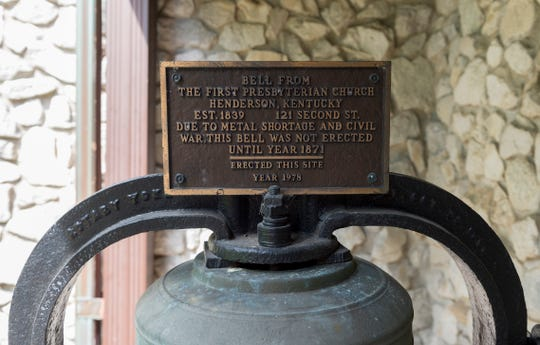 The 150-year-old bronze bell sits on the front porch of Presbyterian Church of Henderson at 100 S. Main St., in  downtown Henderson, Ky., Thursday afternoon, May 14, 2020. Church members have taken turns ringing the bell each Sunday morning since Gov. Andy Beshear encouraged churches to do so in late March at the start of the coronavirus shutdown. The Presbyterian Church will resume in-person worship services this coming Sunday but plans to continue to ring its bell weekly for the foreseeable future.