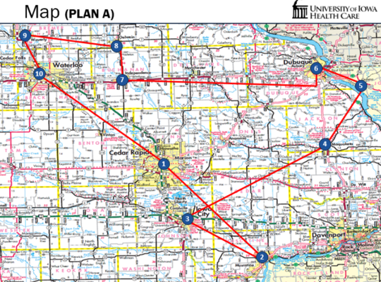The flight path for the two AirCare Helicopters across eastern Iowa for an AirCare Wave on May 20, 2020.