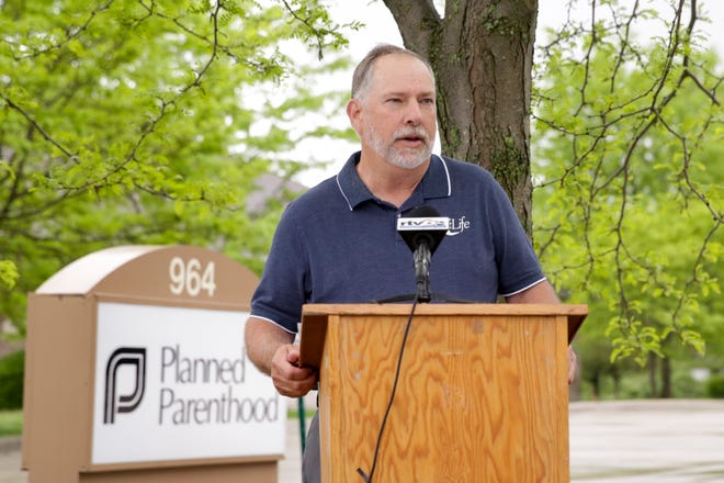"""Kevin Niebrugge, Tippecanoe County Right to Life, speaks during a press conference outside the Lafayette Planned Parenthood facility, Tuesday, May 19, 2020 in Lafayette. Tippecanoe County Right to Life held the press conference after a police report was filed alledging an """"illegal surgical abortion"""" had been done at the clinic. The group states the facility is only licensed to conduct chemical abortions."""