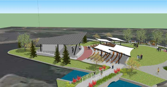 This is what a new bandshell at Columbian Park's Memorial Island is expected to look like when it's finished in June 2021.