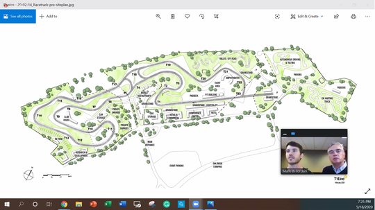 Jordan Dick (left) and Mark Dick discuss a conceptual plan for a motor sports complex with race tracks they want to build in Howell, Monday, May 18, 2020, during a remote meeting of Howell City Council, as seen in this screen shot of the Zoom meeting.