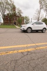 City officials are looking to install crosswalks at three more locations on Grand River Avenue in Howell, including in front of the historic Livingston County courthouse, shown Tuesday, May 19, 2020.