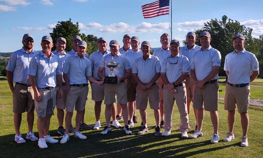Big Creek Golf & Country Club defeated Harrison Country Club on Sunday to win the Ozarks Cup. Team members are: (from left) Brad Coleman, Curtis Nielsen, Kyle Barton, John Campbell, Brandon Maple, Matthew Kelly, Brent Edens, Robbie Robbins, Seth Johnson, Mike Robbins, Tommy Strickland, Todd Dunnaway, Lance Coffman, Spencer Adams, and Nick Coleman.