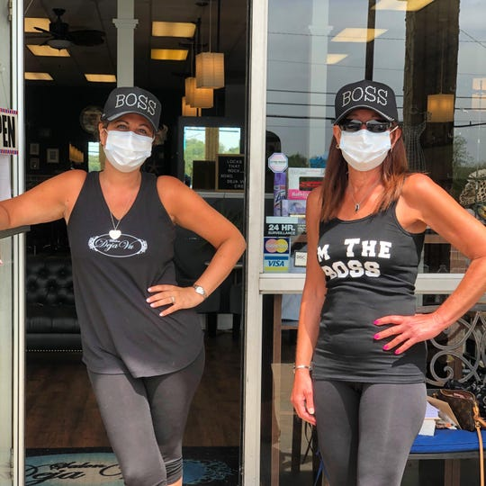 Salon owners Katee Petro (left) and Debbie Stallings of Deja Vu in Rockaway Borough say they are ready to open as soon as the governor gives the green light.