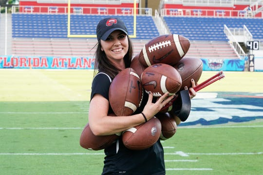 Former Smyrna and Western Kentucky football manager Hannah Potter is shown before a past Hilltopper game. Potter has landed an internship with the Indianapolis Colts.