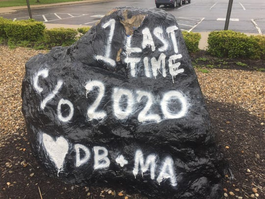 This rock in front of the present high school building honors the Class of 2020. With a new high school building nearing completion for the coming school year, the Class of '20 is the last that will learn within the present building's walls.