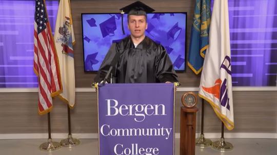 Valedictorian Maciej Szajwaj speaks to the Bergen Community College Class of 2020 during a virtual graduation ceremony.