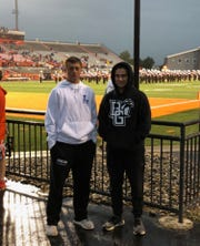 Trent and Tate Farquhar (right) pose during their visit at Bowling Green State University.
