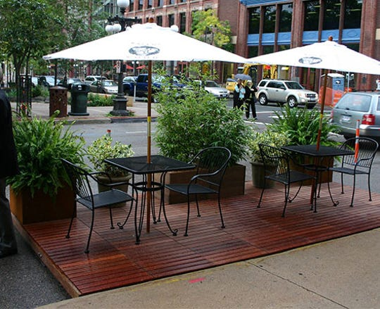 An example of a pop-up dining platform that can be used in Milford this summer.
