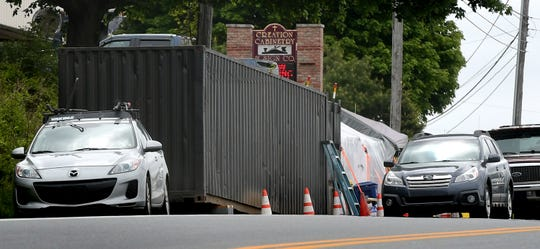 J & K Salvage donated a shipping container to expand the formerly tented Little Free Food Pantry on Cape Horn Road in Red Lion Monday, May 18, 2020. Bill Kalina photo