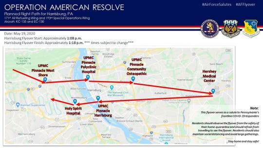 The Pennsylvania Air National Guard will present an aircraft flyover in the Harrisburg area Tuesday, May 19, as part of Operation American Resolve, a nationwide salute to all those supporting COVID-19 response efforts. (U.S. Air National Guard courtesy photo)