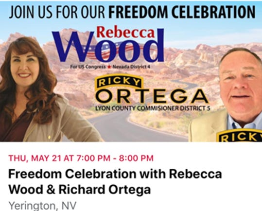 """In this screenshot of a Facebook event, candidates Rebecca Wood and Richard Ortega invite people to a """"freedom celebration"""" which could attract dozens of people to the Yerington Municipal Airport on May 21."""