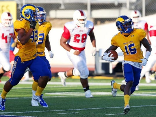 Angelo State's Fred Lawrence returns a punt 93 yards for a touchdown against Oklahoma Panhandle State in the 2015 season opener, which the Rams won 52-31.