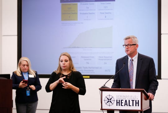 Springfield-Greene County Health Department director Clay Goddard gives an update on the coronavirus during a press conference on Tuesday, May 19, 2020.