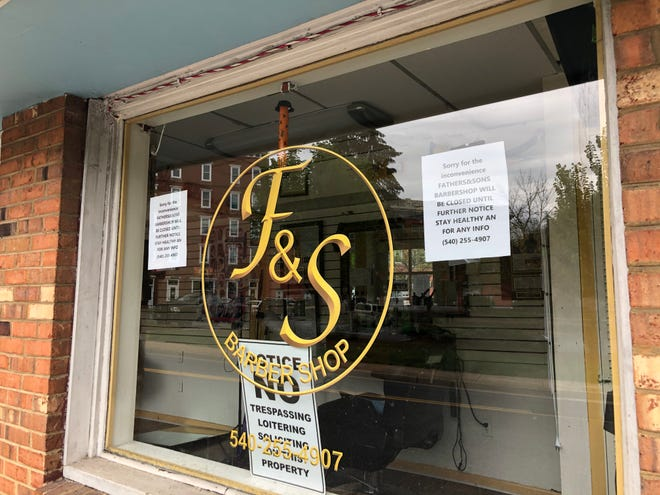 Fathers & Sons Barber Shop in Staunton on March 28, 2020.