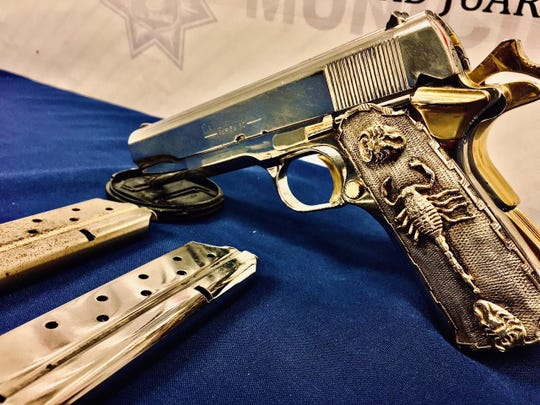 A gold-plated .38 Super handgun resulted in the arrest of an El Paso man on a firearm possession charge in Juárez, Mexico, in May 2020.