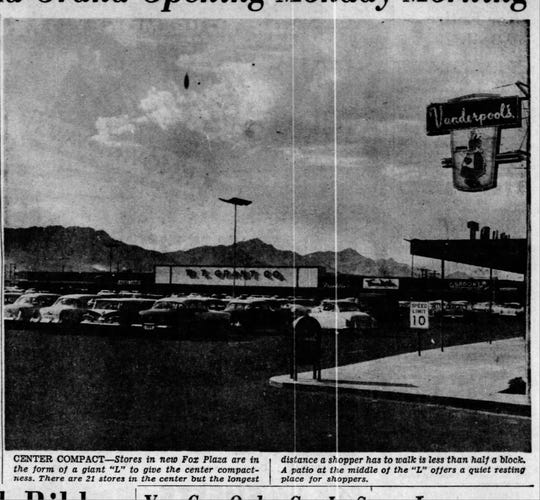 """Sept. 20, 1959: Stores in the new Fox Plaza are in the form of a giant """"L"""" to give the center compactness. There are 21 stores in the center, but the longest distance a shopper has to walk is less than half a block."""