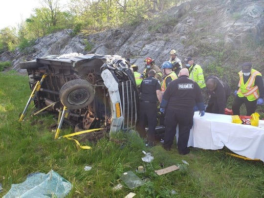 Members of the Hawthorne, Millwood and Ossining Volunteer Ambulance Corps, and the Briarcliff Fire Department and EMS responded to the scene of Tuesday's rollover on the southbound Taconic State Parkway in Mount Pleasant. State Police Troop K Spokesman Trooper A.J. Hicks said a 77-year-old Mahopac man sustained serious injuries that were not believed to be life-threatening.
