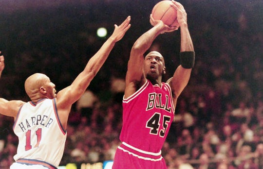 Michael Jordan scored 55 points while wearing #45 against the Knicks in March of 1995. Jordan played 15 seasons in the NBA winning six championships with the Chicago Bulls. A recent ESPN documentary showed what a fierce competitor he was, especially when playing against the Knicks.