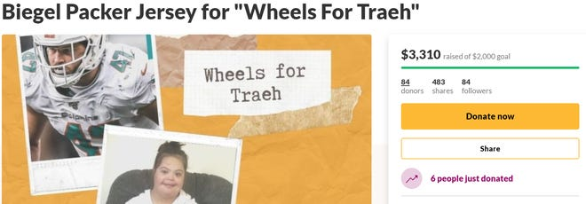 A GoFundMe page set up by Vince and Sarah Biegel for Traeh Paulin has raised more than $3,300.