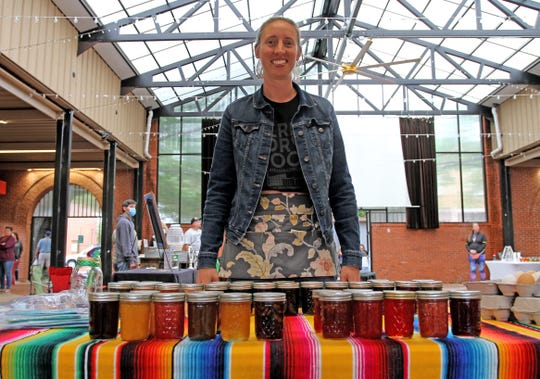 Maranda Revell, owner of That's My Jam, sells her homemade jams Saturday, May 16, 2020, at the Downtown Farmers Market.
