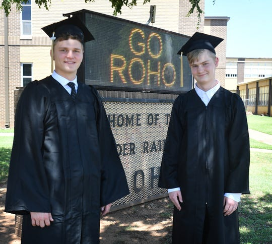 Carson Sager, left, and Nathan Carlston have been friends since before preschool and as they graduate from Rider High School, Carson is the valedictorian and Nathan is the salutatorian of their senior class.