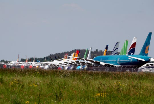 Planes on the tarmac at Tarbes-Lourdes airport in southwestern France on May 8, 2020.