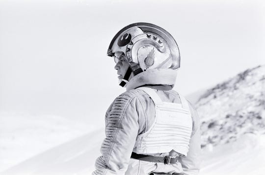 Wearing his Rebel flying suit, Mark Hamill worked on stage featuring Hoth's humorous AT-AT in