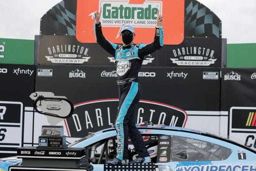 Kevin Harvick celebrates after winning celebrates after winning the Real Heroes 400 on Darlington, S. C. on May 17, 2020.